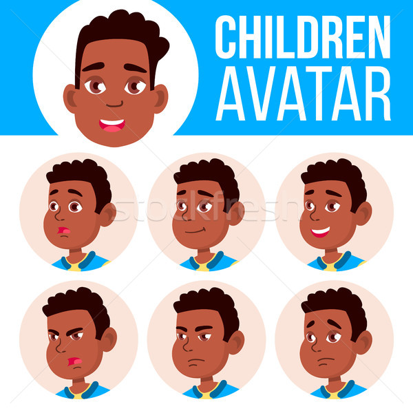 Boy Avatar Set Kid Vector. Afro American. Black. High School. Face Emotions. Flat, Portrait. Cute, C Stock photo © pikepicture
