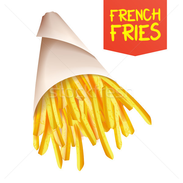 French Fries Potatoes Vector. ast Food Icons Potato. Full Paper Bag, Cone. Isolated Realistic Illust Stock photo © pikepicture