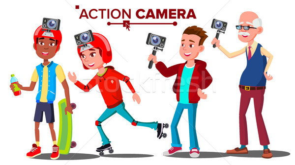 People With Action Camera Set Vector. Self Video, Portrait. Shooting Process. Active Type Of Rest. I Stock photo © pikepicture