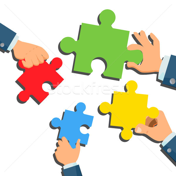 Solution Concept Vector. Businessman Hands With Puzzle. Metaphor. Success Strategy. Brainstorming, F Stock photo © pikepicture