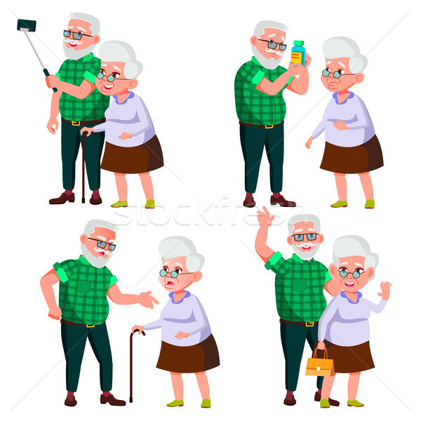 Elderly Couple Set Vector. Modern Grandparents. Old Age. With Glasses. Face Emotions. Happy People T Stock photo © pikepicture