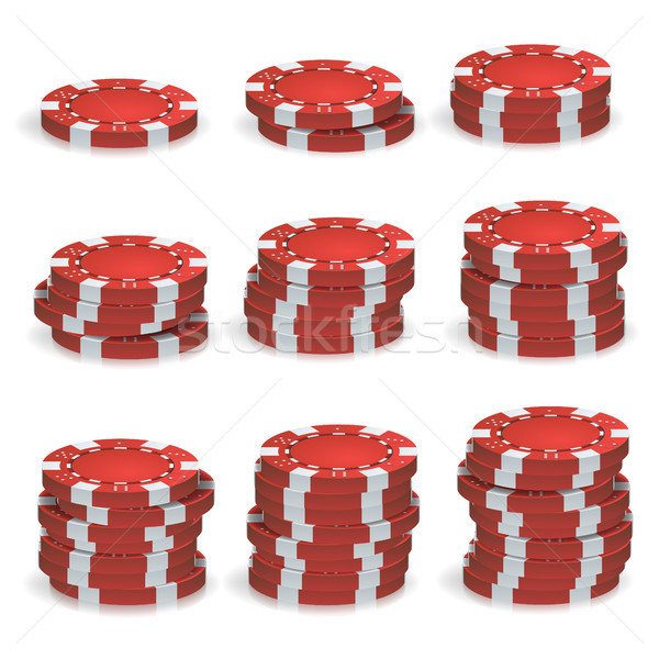 Rood poker chips vector 3D realistisch ingesteld Stockfoto © pikepicture