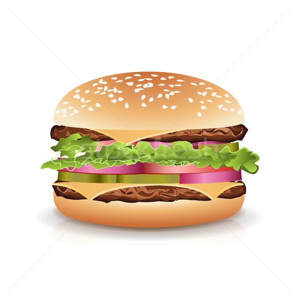 Сток-фото: быстрого · питания · реалистичный · Burger · вектора · большой · икона