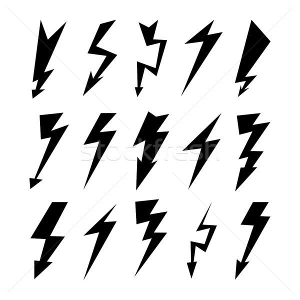 Bliksem elektriciteit donder gevaar symbool Stockfoto © pikepicture