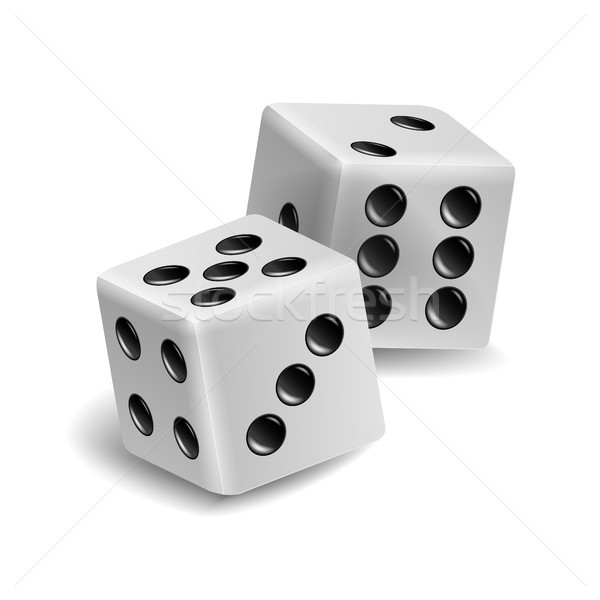 Playing Dice Vector Set. Realistic 3D Illustration Of Two White Dice With Shadow. Game Dice Set Stock photo © pikepicture