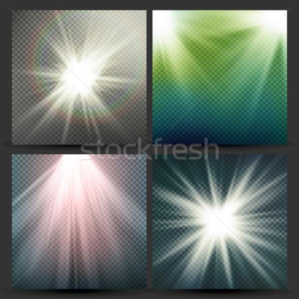 Fény nyaláb sugarak vektor szett nap Stock fotó © pikepicture