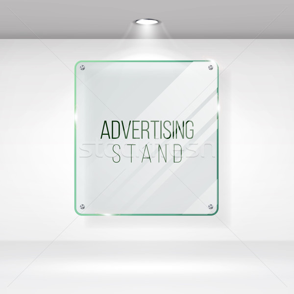 Advertising Stand Glass Vector. Realistic Glass On A Wall With Lights. Good For Images And Advertise Stock photo © pikepicture