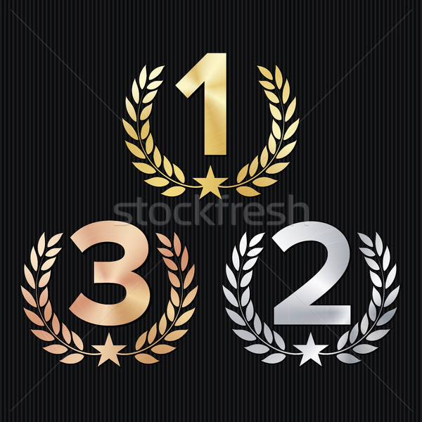 Trophy Award Set Vector. Figures 1, 2, 3 One, Two, Three In A Realistic Gold Silver Bronze Laurel Wr Stock photo © pikepicture