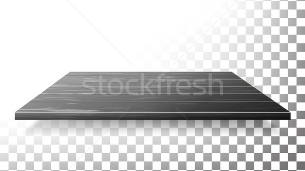 Dark Wooden Table Top, Floor, Wall Shelf Vector. Realistic Wood Texture Isolated. Stock photo © pikepicture