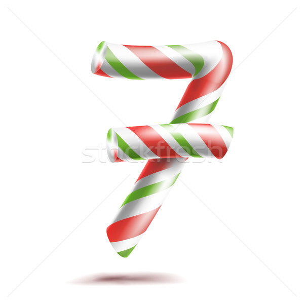 7, Number Seven Vector. 3D Number Sign. Figure 7 In Christmas Colours. Red, White, Green Striped. Cl Stock photo © pikepicture