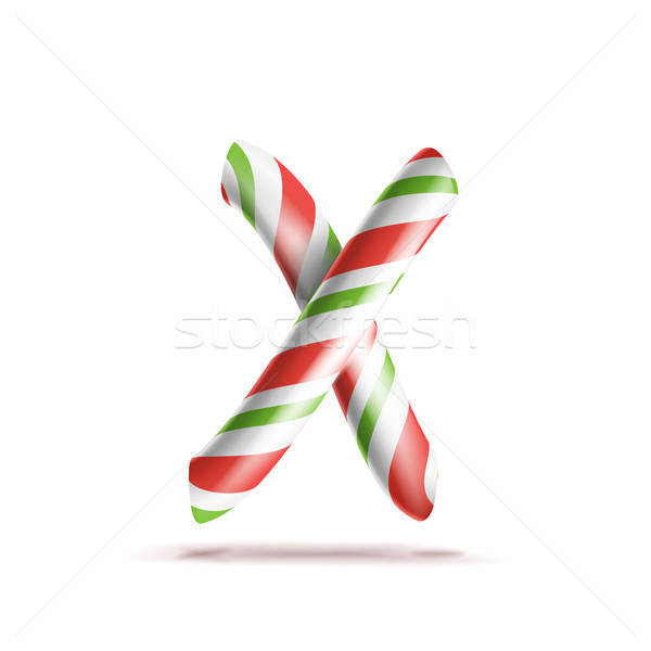 Letter X Vector. 3D Realistic Candy Cane Alphabet Symbol In Christmas Colours. New Year Letter Textu Stock photo © pikepicture