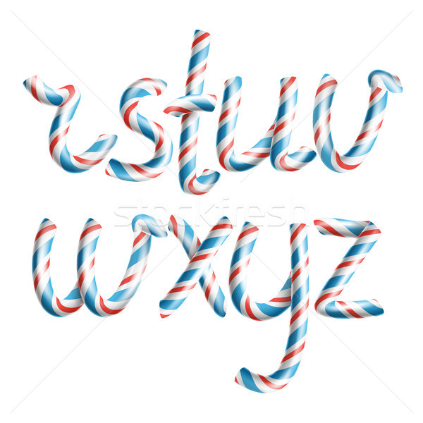 Stock photo: Letters R, S, T, U, V, W, X, Y, Z. Vector. 3D Realistic Candy Cane Alphabet Symbol In Christmas Colo