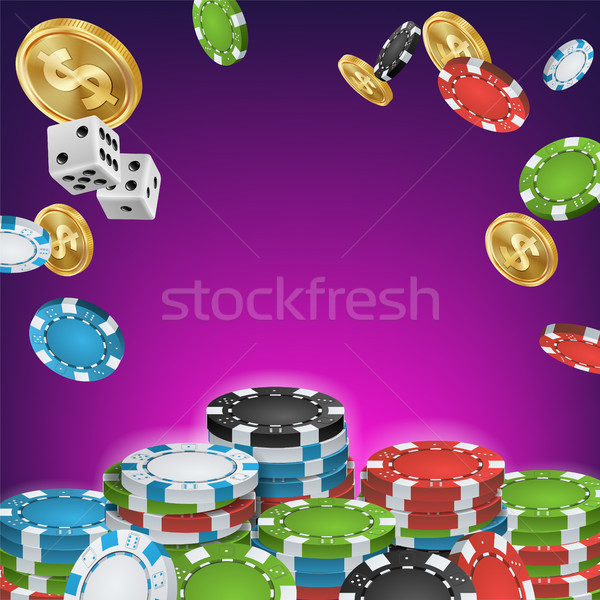 Casino Banner Vector. Online Poker Gambling Casino Banner Sign. Bright Chips, Dollar Coins. Jackpot  Stock photo © pikepicture