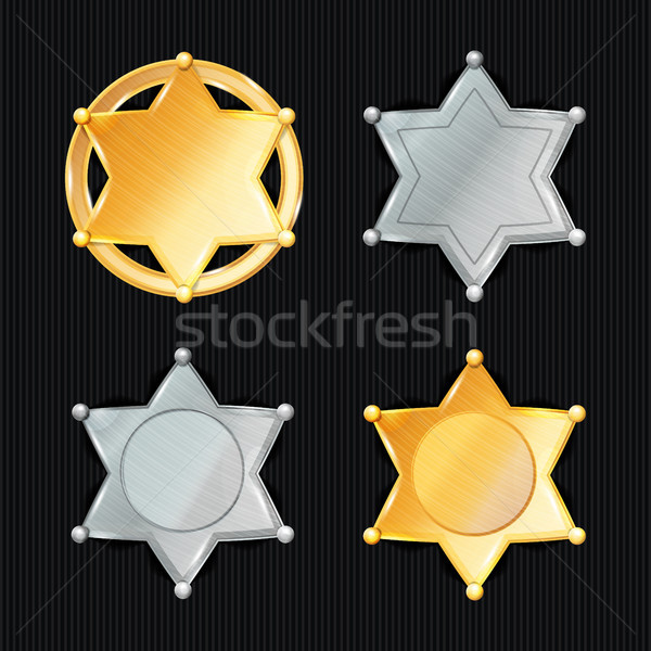 Sheriff Badge Star Vector Set. Different Types. Classic Symbol. Municipal City Law Enforcement Depar Stock photo © pikepicture
