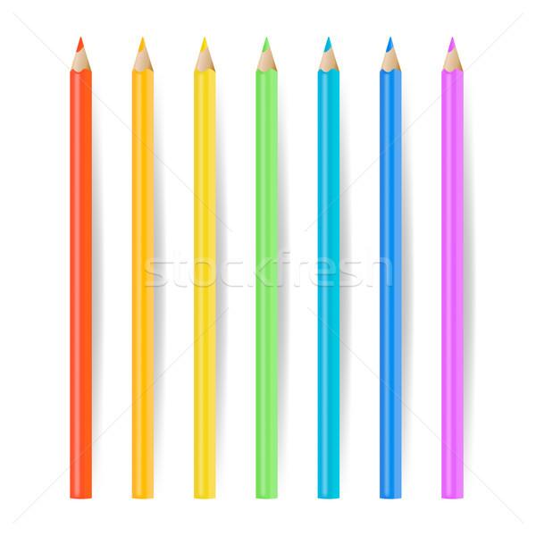 Színes ceruzák szett vektor valósághű iskola Stock fotó © pikepicture
