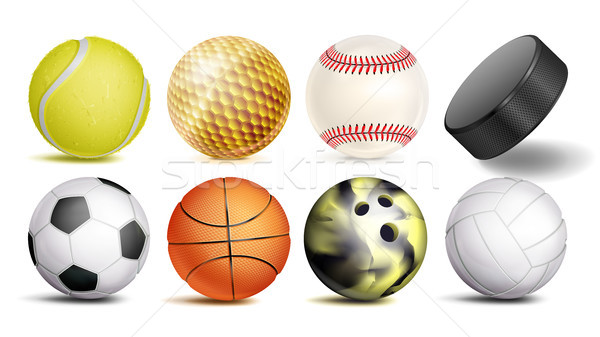 Sport Balls Vector. Set Of Soccer, Basketball, Bowling, Tennis, Golf, Volleyball, Baseball Balls. Ho Stock photo © pikepicture