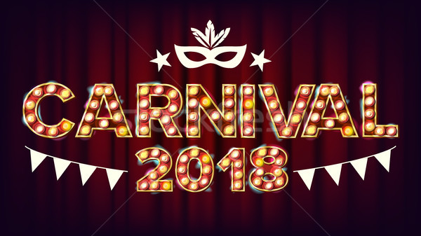 Carnival Background Vector. Carnival Shining Light Sign. For Masquerade Invitation Design. Modern Il Stock photo © pikepicture