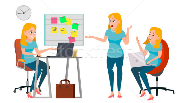 Business Woman Character Vector. Working Female, Girl. Team Room. Desk. Brainstorming. Environment P Stock photo © pikepicture