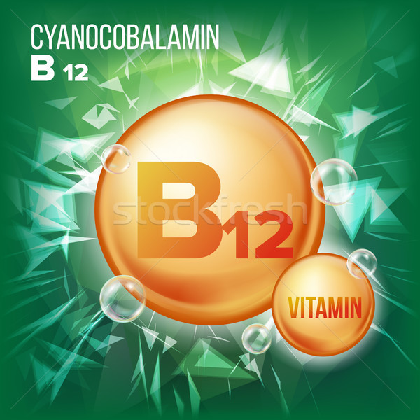 Vitamin B12 Cyanocobalamin Vector. Vitamin Gold Oil Pill Icon. Organic Vitamin Gold Pill Icon. For B Stock photo © pikepicture