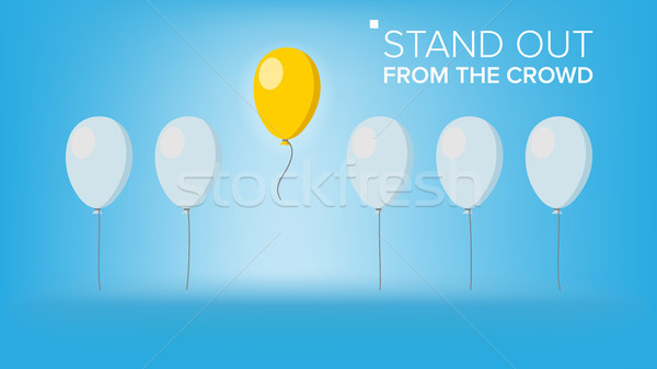 Stand Out From The Crowd Vector. Outstanding Flying Balloon On light Different From Other. Business  Stock photo © pikepicture