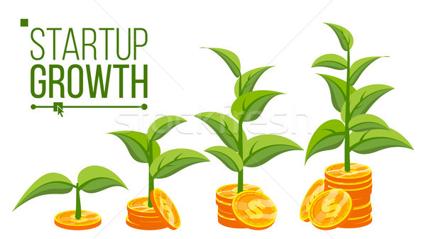Business Growth Concept Vector. Tree Growing On Coins. Success Company. Stack Money Coins. Isolated  Stock photo © pikepicture