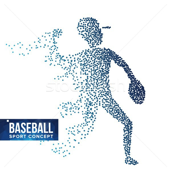 Baseball Player Silhouette Vector. Grunge Halftone Dots. Dynamic Baseball Athlete In Action. Flying  Stock photo © pikepicture