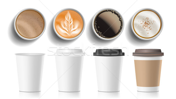 Coffee Cups Top View Vector. Plastic, Paper White Empty Fast Food Take Out Coffee Menu Mugs. Various Stock photo © pikepicture