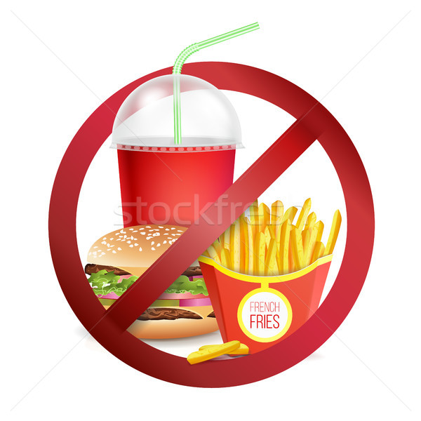 Gyorsételek veszély címke vektor nem étel Stock fotó © pikepicture