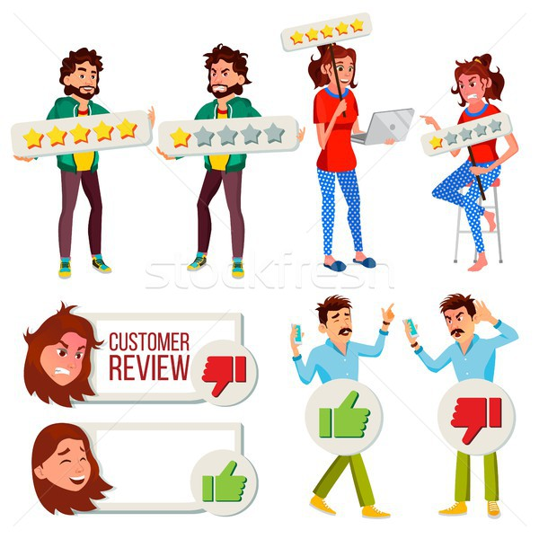 Customer Review Set Vector. Business Positive, Negative Client Review. Store Quality Work. Man, Woma Stock photo © pikepicture