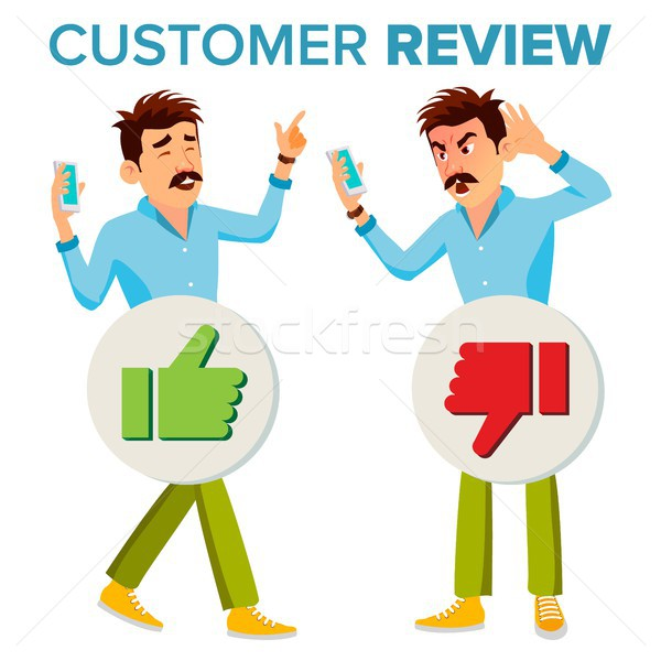 Customer Review Vector. Happy And Unhappy Man. Good And Bad Customer Client Feedback. Shop Quality W Stock photo © pikepicture