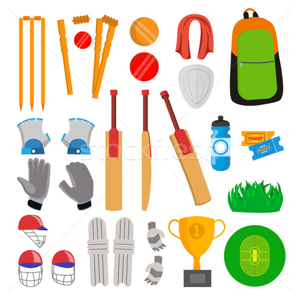 Cricket Icons Set Vector. Cricketer Accessories. Bat, Gloves, Helmet, Ball, Cup, Playing Field. Isol Stock photo © pikepicture
