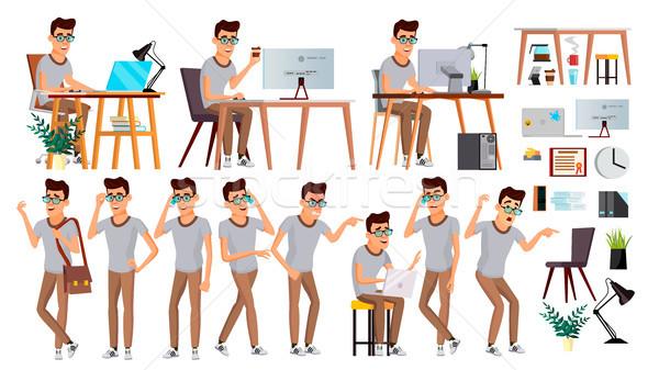 Stockfoto: Kantoormedewerker · vector · gezicht · emoties · gebaren