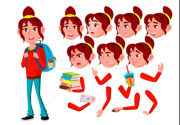 Teen Girl Vector. Teenager. Friendly, Cheer. Face Emotions, Various Gestures. Animation Creation Set Stock photo © pikepicture