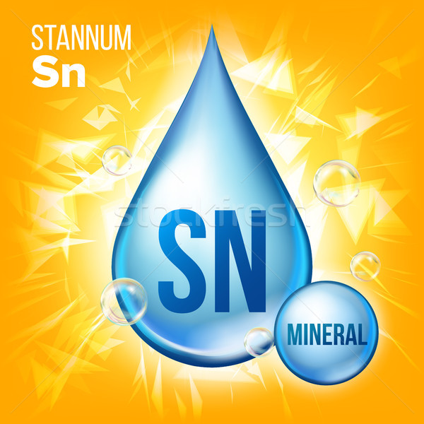 Sn Stannum Vector. Mineral Blue Drop Icon. Vitamin Liquid Droplet Icon. Substance For Beauty, Cosmet Stock photo © pikepicture