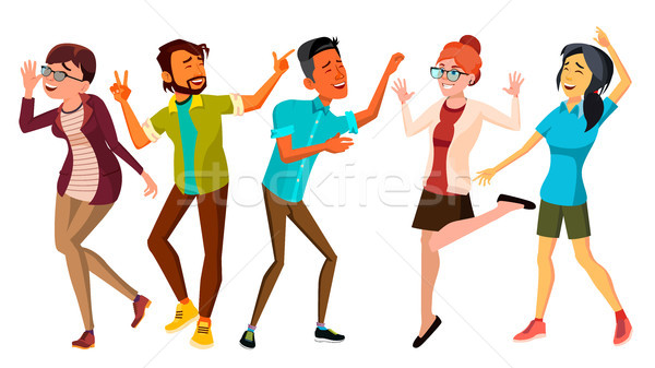 Dancing People Set Vector. Smiling And Have Fun. Free Movement Poses. Isolated Flat Cartoon Illustra Stock photo © pikepicture