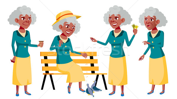 Old Woman Poses Set Vector. Black. Afro American. Elderly People. Senior Person. Aged. Funny Pension Stock photo © pikepicture