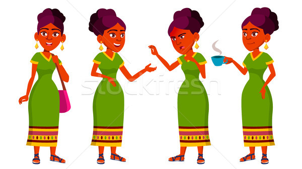 Teen Girl Poses Set Vector. Indian, Hindu. Asian. Active, Expression. For Presentation, Print, Invit Stock photo © pikepicture