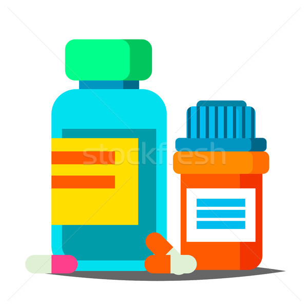 Pills Bottle Vector. Medical Capsules Container. Pharmacy, Drug. Isolated Cartoon Illustration Stock photo © pikepicture
