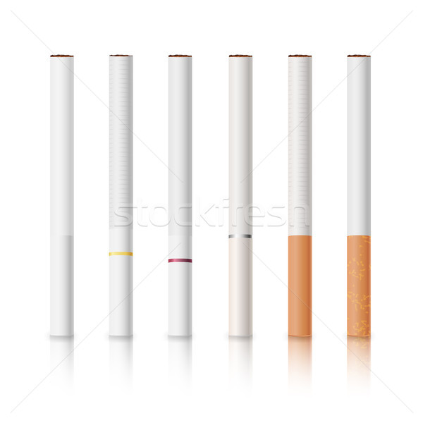 Cigarettes Set With White And Yellow Filters Isolated Vector Illustration Stock photo © pikepicture