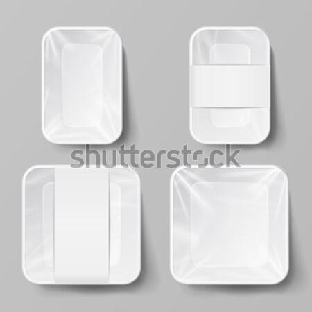 Realistyczny żywności pojemnik zestaw wektora pusty Zdjęcia stock © pikepicture
