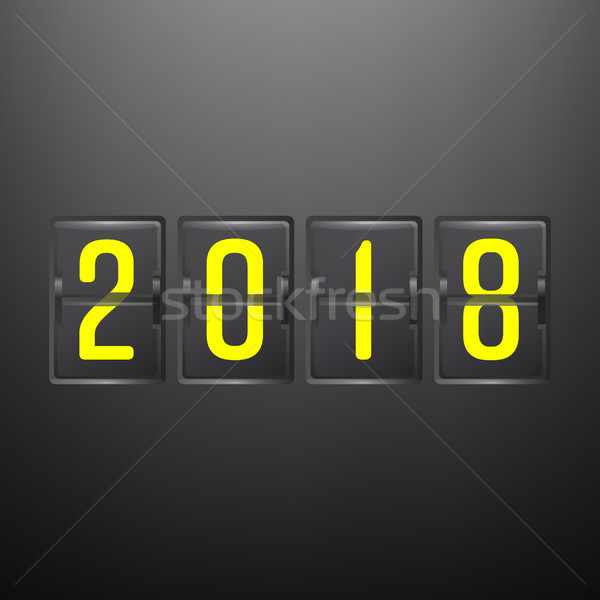 Happy New Year 2018. Vector Holiday Banner Or Poster With Abstract Clock. Stock photo © pikepicture