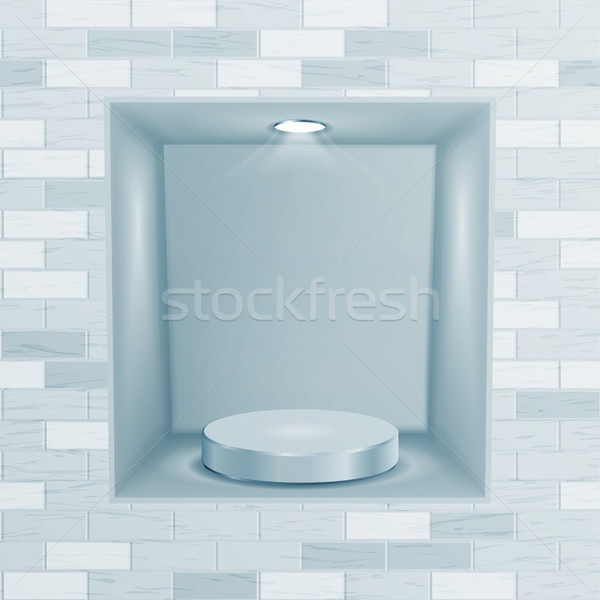 Empty Niche Vector. Realistic Brick Wall. Clean Empty Shelf, Niche, Showcase In The Wall. Mock Up. G Stock photo © pikepicture