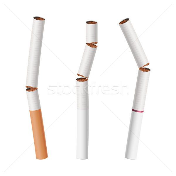 Broken Cigarettes Set Vector. Smoking Kills Stock photo © pikepicture