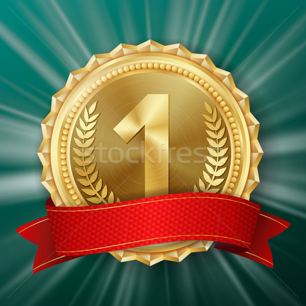 Stock photo: Gold Medal Vector. Golden 1st Place Badge. Metallic Winner Award. Red Ribbon. Olive Branch. Realisti