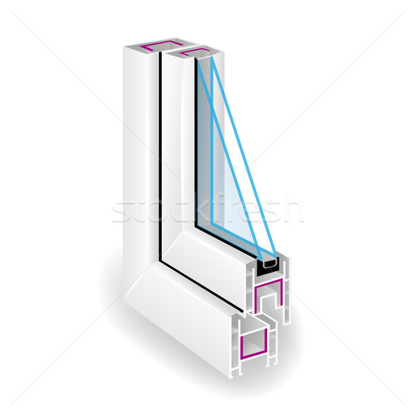 Plastic Profile Frame Window. Two Transparent Glass. Sectional View. Vector Illustration Stock photo © pikepicture