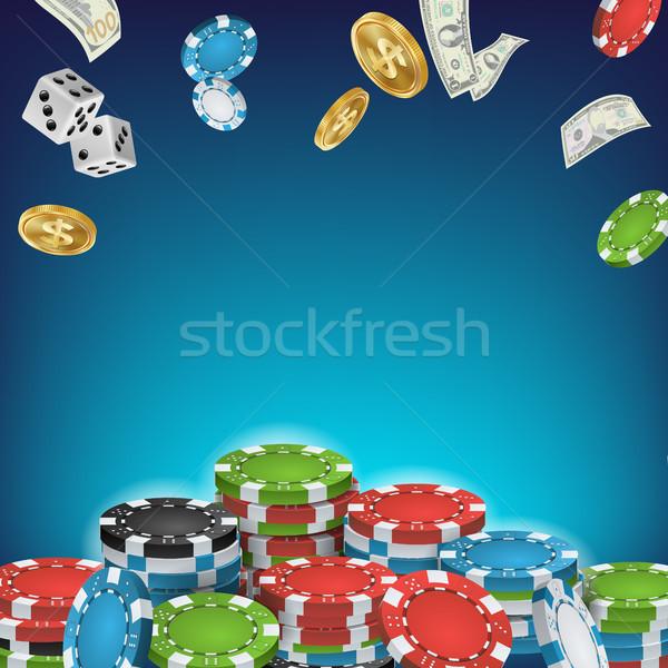онлайн казино плакат вектора покер игорный Сток-фото © pikepicture