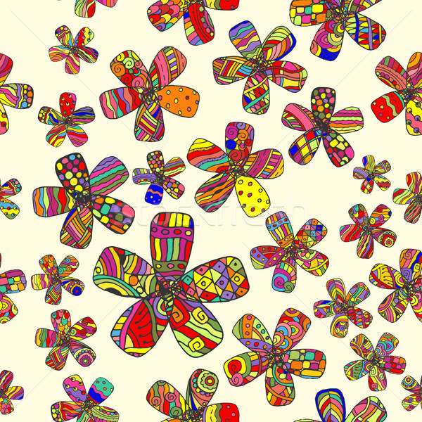 Vettore pattern 60s senza soluzione di continuità flower power sociale Foto d'archivio © pikepicture