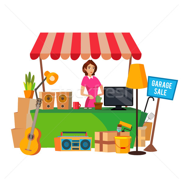 Garage Sale Vector. Assorted Household Items. Flat Cartoon Illustration Stock photo © pikepicture