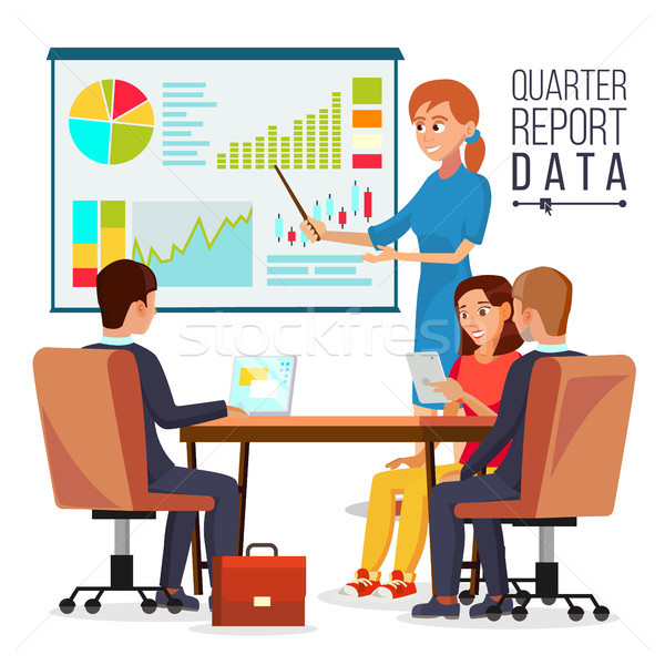 Corporate Business Meeting Vector. Woman Manager Explaining Quarter Report Data. Teamwork. Chatting  Stock photo © pikepicture