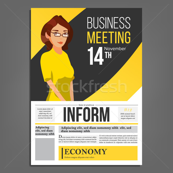 Spotkanie biznesowe plakat wektora business woman układ prezentacji Zdjęcia stock © pikepicture